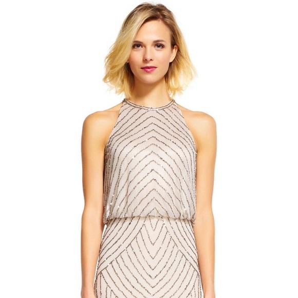 5d8e54ec367ef Adrianna Papell Dresses | Beaded Blouson Halter Dress | Poshmark